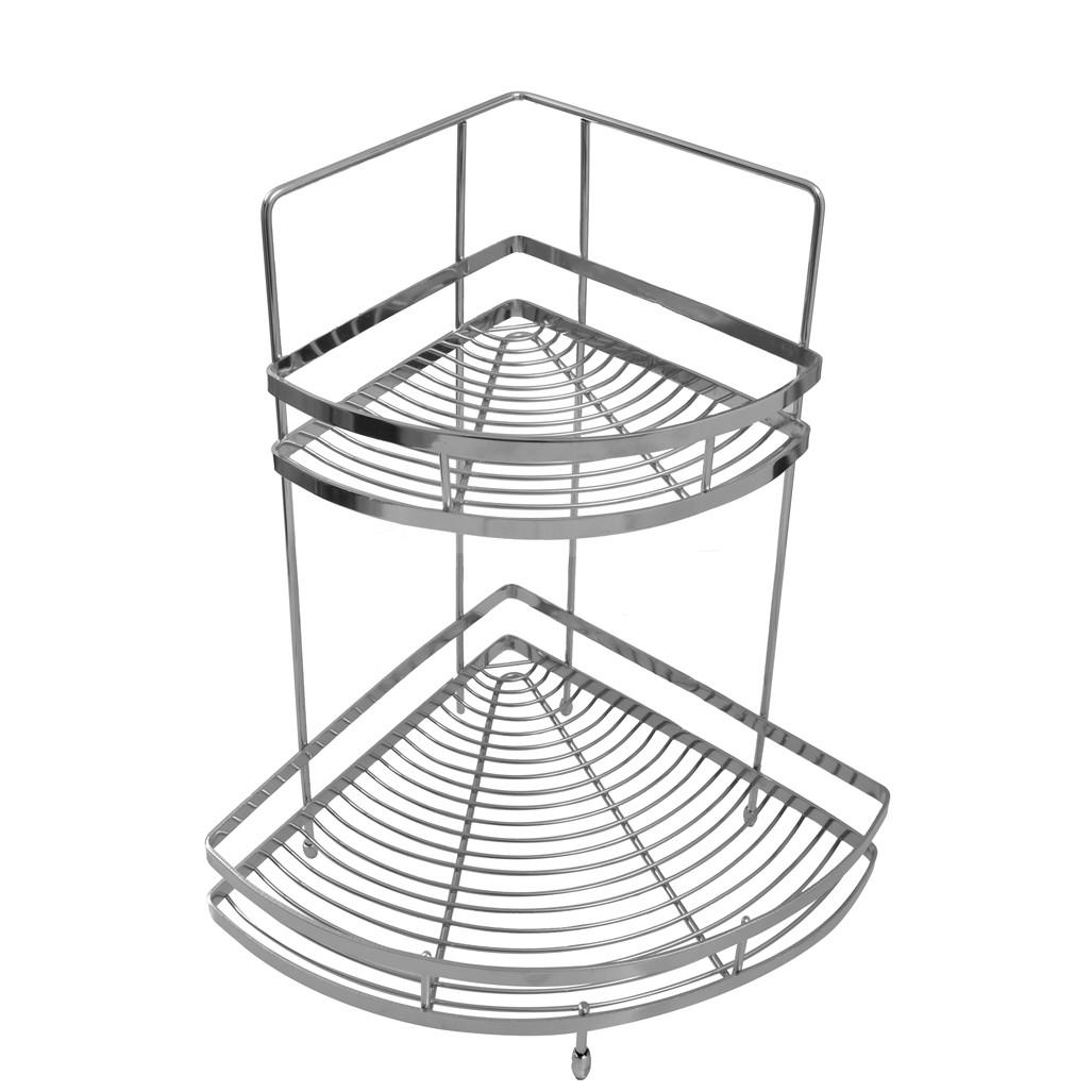 Klaxon Unique Double Corner Shelf / Kitchen Basket Stainless Steel