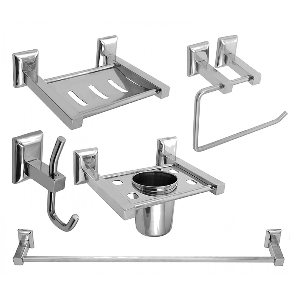 Bathroom fittings set - Klaxon Aquaria Bath Set Bathroom Accessories Set Steel