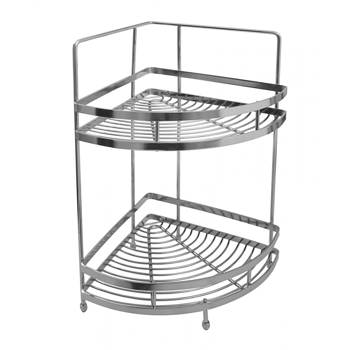 Merveilleux Klaxon Stainless Steel Double Shelf Basket (Silver)