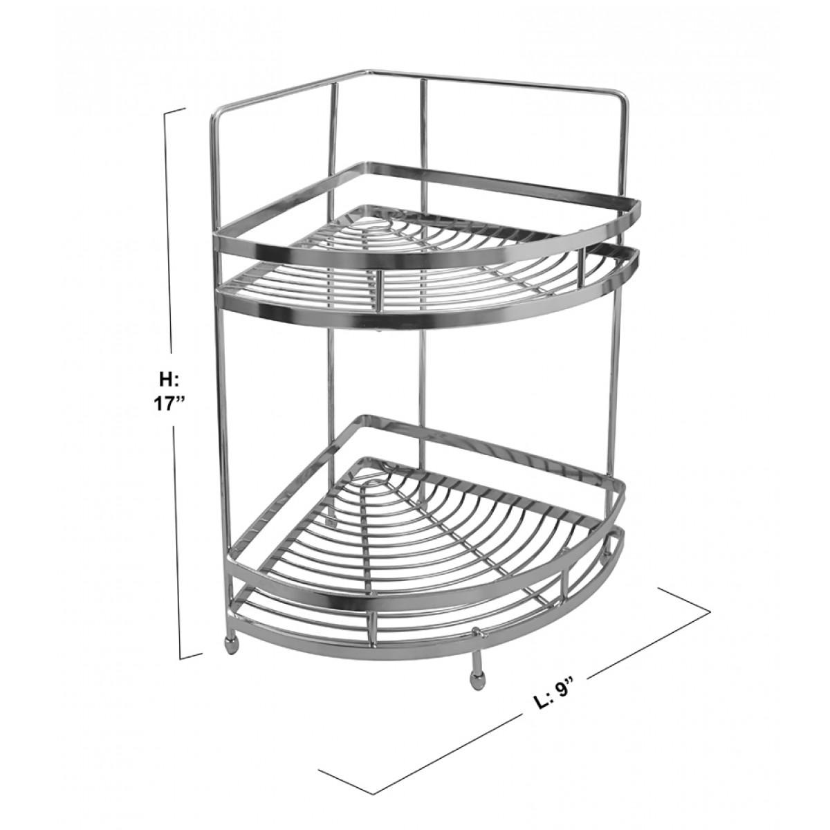Kitchen Basket Klaxon Double Corner Shelf Kitchen Basket Stainless Steel
