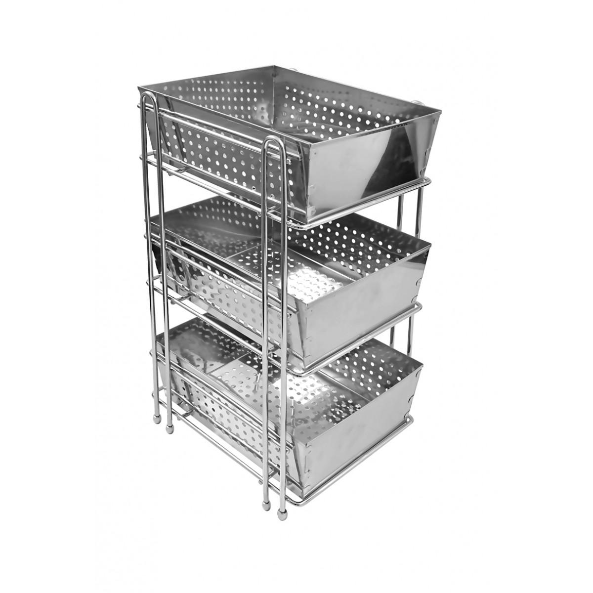 Klaxon Stainless Steel Three Shelf Kitchen Basket Silver