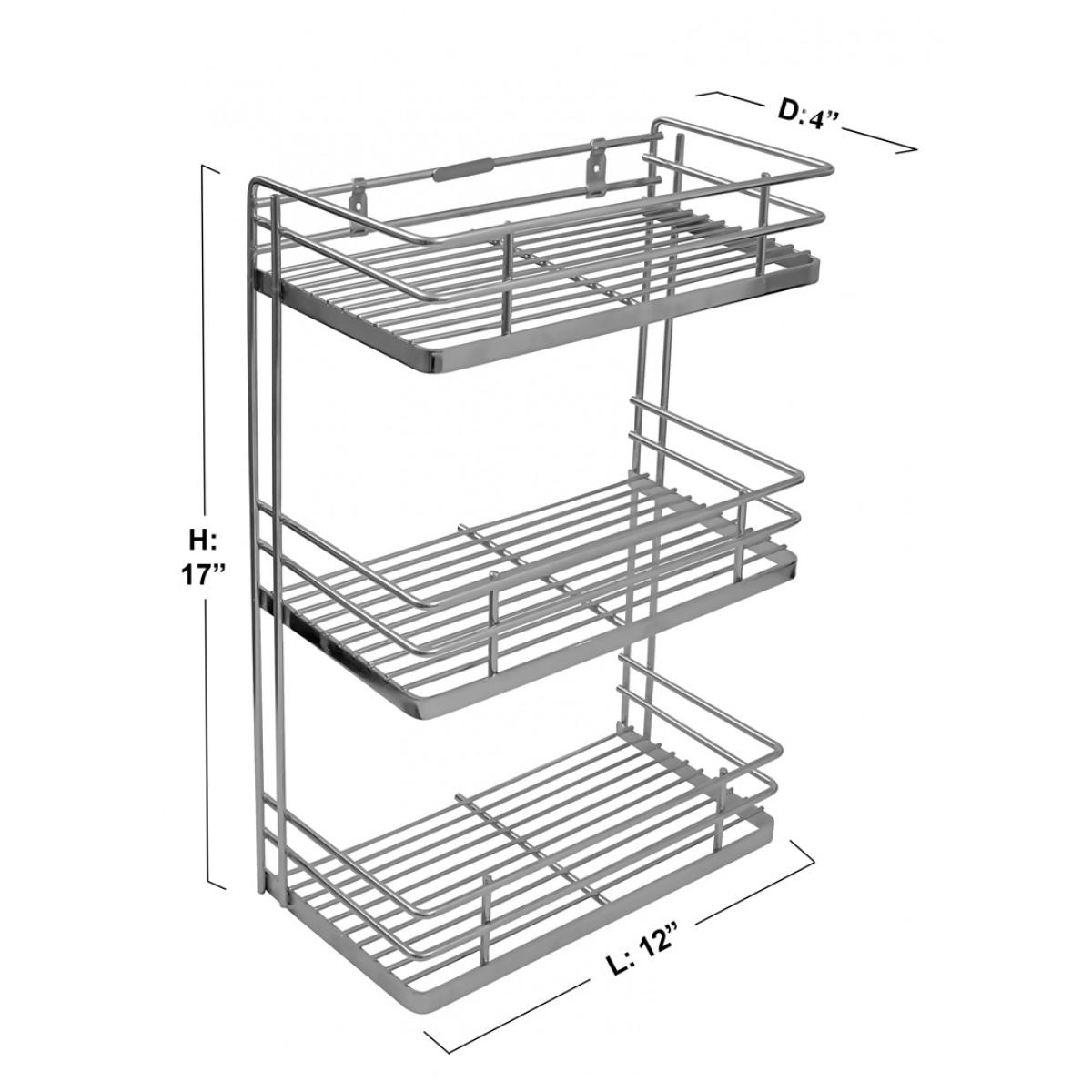 Klaxon Stainless Steel Kitchen Spice Rack (Silver)