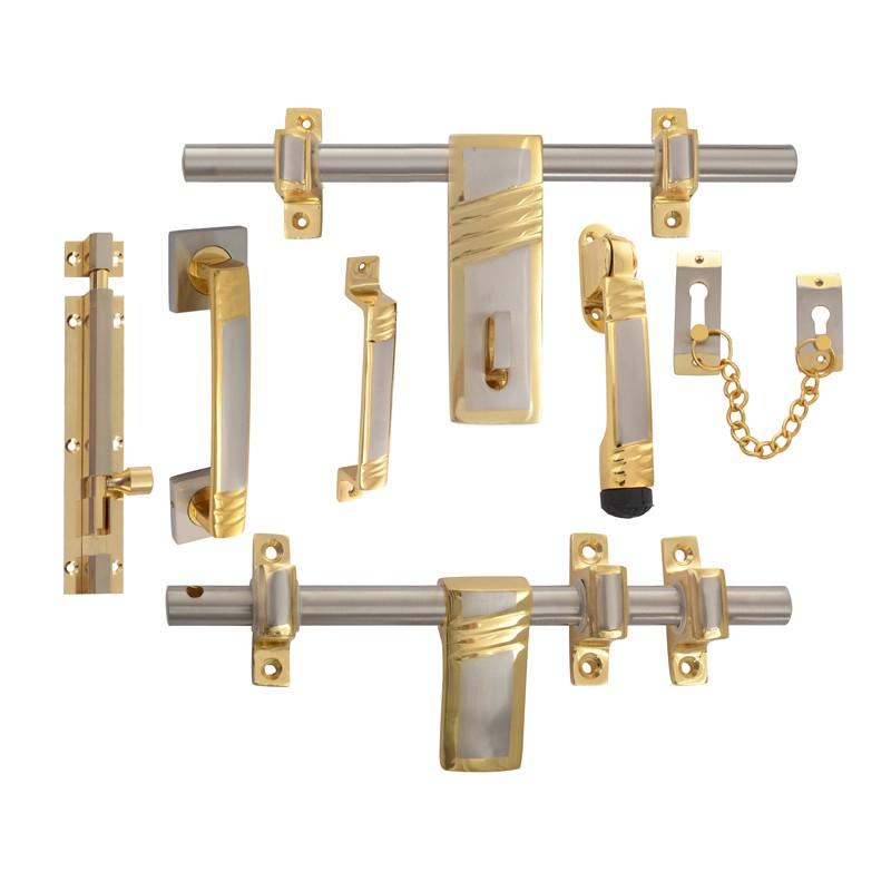 Klaxon Waves Brass Door Kit (Gold + Steel Finish)  sc 1 st  Klaxon Hardware & Klaxon Waves Brass Door Kit (Gold + Steel Finish) - Door Kit - Doors ...
