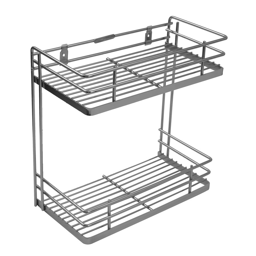 klaxon wall mounted stainless steel double shelf kitchen