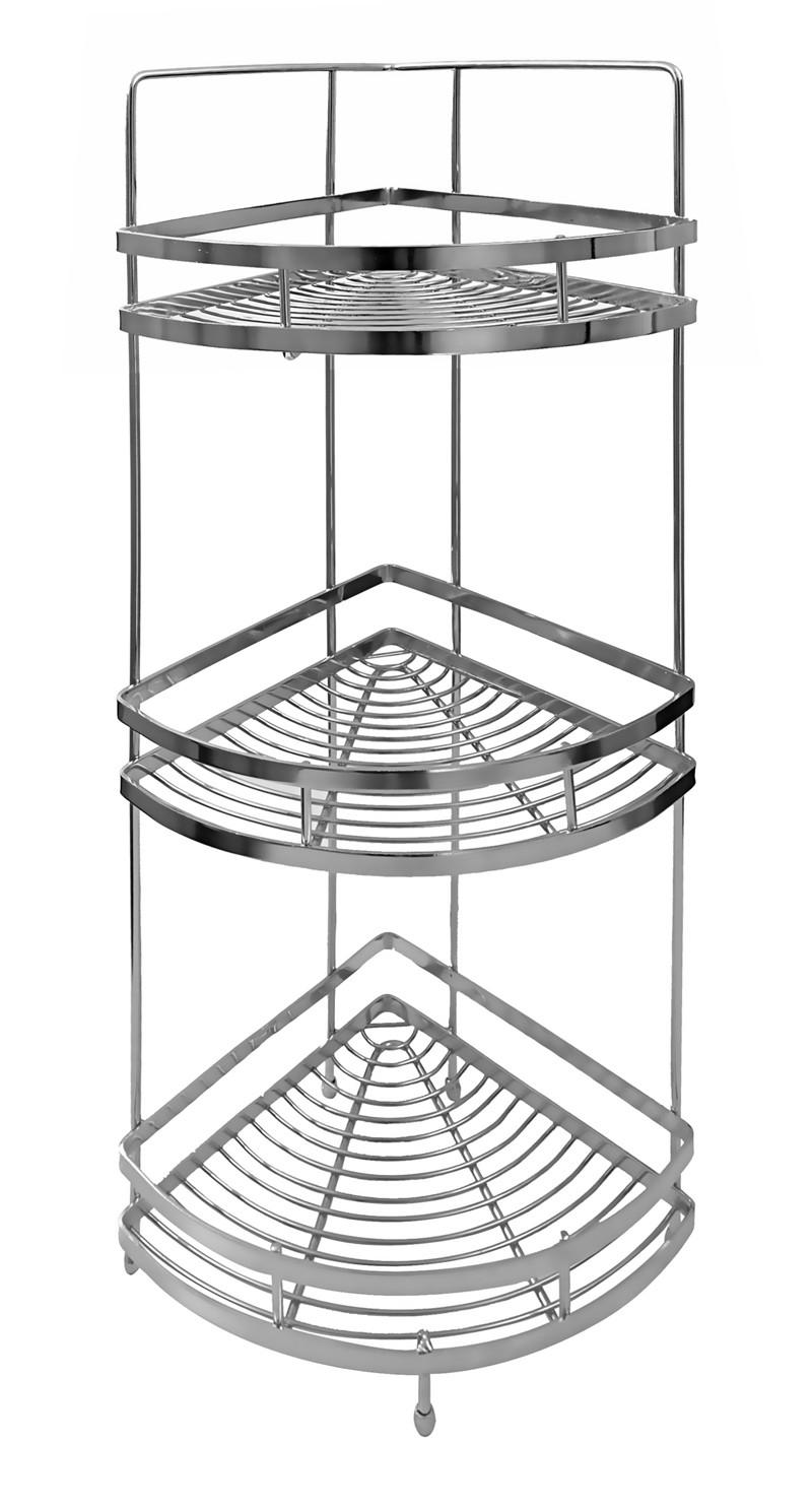 Klaxon Triple Corner Shelf / Kitchen Basket Stainless Steel