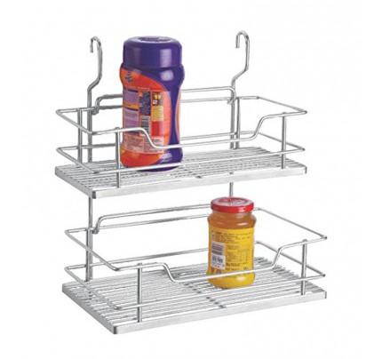 Klaxon Regular Hanging Kitchen Storage Rack Double   6 Inch (Stainless  Steel)